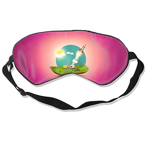 ZHENHUN Rocket Launch Silk Sleep Eye Mask Shade Best Sleeping Eye Cover for Travel Nap Full Nightâ€s Sleep Super Soft with Adjustable Strap