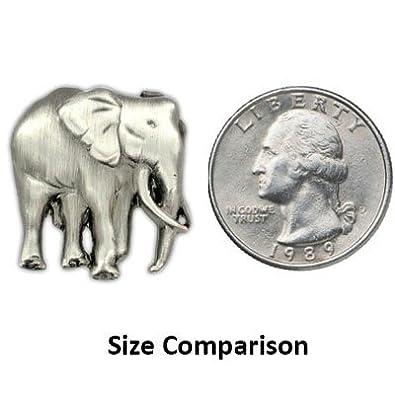 PinMart Elephant Zoo Animal Antique Silver Lapel Pin