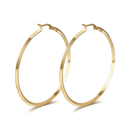 MG Jewelry Fashion Women's Stainless Steel Round 18k Gold Plated Large Size Big Hoop Earring, 57mm(22.4