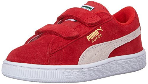 PUMA Unisex Suede 2 Straps Sneaker, high Risk red White, 13.5 M US Little ()