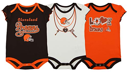 Outerstuff NFL Newborn and Infant Assorted 3 Pack Creeper Set, Cleveland Browns 18 Months