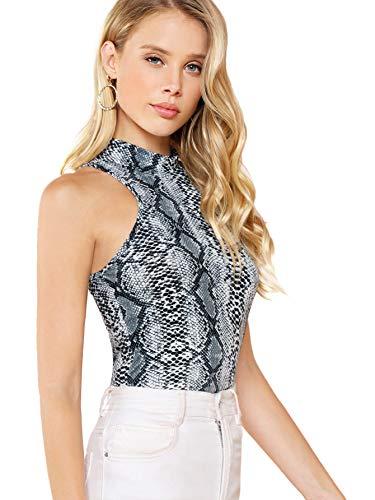 a0b8908912d MakeMeChic Women's Casual Summer Sleeveless Mock Neck Snakeskin Print Sexy T -Shirt Tank Tops