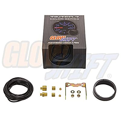 GlowShift Tinted 7 Color 60 PSI Turbo Boost Gauge Kit - Includes Mechanical Hose & Fittings - Black Dial - Smoked Lens - For Diesel Trucks - 2-1/16