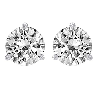 3/4 Carat Solitaire Diamond Stud Earrings Round Brilliant Shape 3 Prong Screw Back (I-J Color, VS1-VS2 Clarity) from Houston Diamond District