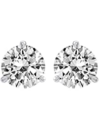 1.5 Carat Solitaire Diamond Stud Earrings Round Brilliant Shape 3 Prong Screw Back (I-J Color, SI2-I1 Clarity)