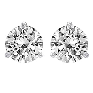 1.25 Carat Solitaire Diamond Stud Earrings Round Brilliant Shape 3 Prong Screw Back (J-K Color, I2 Clarity)