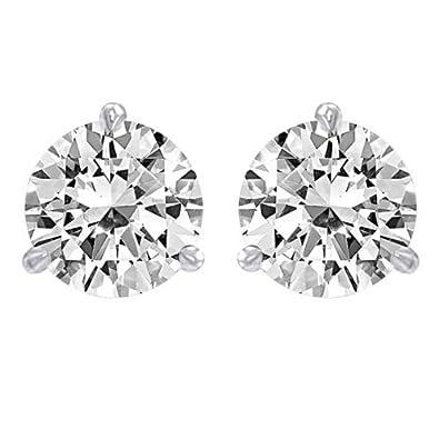 1 1 2 Carat Solitaire Diamond Stud Earrings 14K White Gold Round Brilliant  Shape 3 ccb62694f8