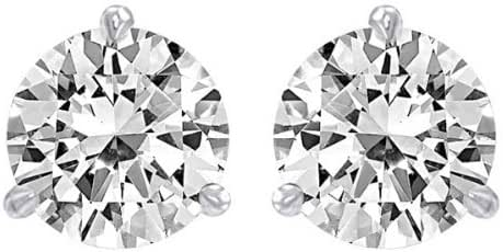 1 1/2 Carat Solitaire Diamond Stud Earrings 14K White Gold Round Brilliant Shape 3 Prong Screw Back (I-J Color, SI2-SI3 Clarity)