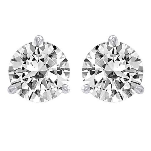 1.00 Carat 18K White Gold Solitaire Diamond Stud Earrings Round Cut 3 Prong Martini/Cocktail Style Screw Back (H-I Color, I2 Clarity)