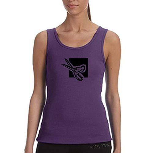 Scissors Tank Top Workout Gym Womens (Purple, XL) - Purp Scissors