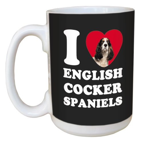 Tree Free Greetings LM45045 I Heart English Cocker Spaniels Ceramic Mug with Full-Sized Handle, 15-Ounce, Black and White 1