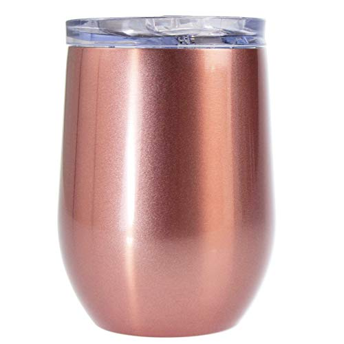 Savvanti Rose Gold Wine Tumbler with Spill Resistant Lid | 12 Ounce Double-Walled Insulated Stainless Steel | The Ecofriendly Choice for Portable Wine, Champagne, Cocktails, Coffee, and (Pink Rose Wine)