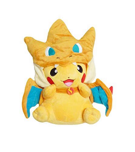 Wearing Pikachu Costume (Pokemon: 9-inch Mascot Pikachu Plush Doll - Mega Charizard)