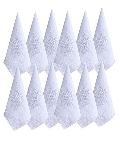 Ladies / Womes White Embroidery Cotton Handkerchiefs Wedding Hankies