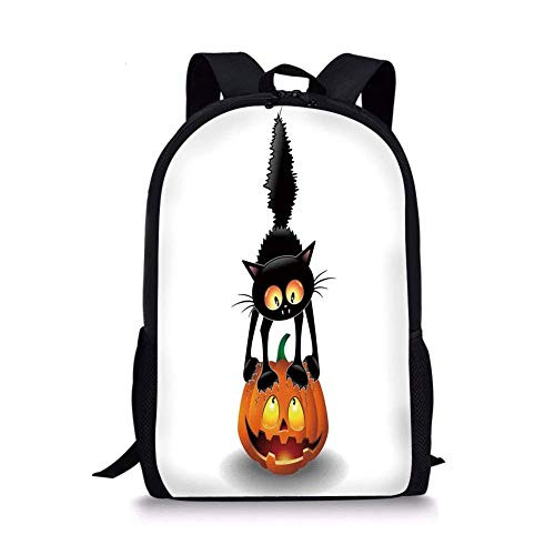School Bags Halloween Decorations,Black Cat on Pumpkin Spooky Cartoon Characters Halloween Humor Art,Orange Black for Boys&Girls Mens Sport Daypack ()