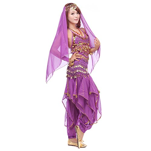 Pilot-trade Women's Belly Dance Costume Set 4-pieces Top Pants Hip Scarf Head Scarf with Gold Coins Purple]()