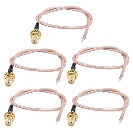 DealMux 5PCS RG316 solda fio SMA-K Antena WiFi Pigtail Cable 30 centímetros