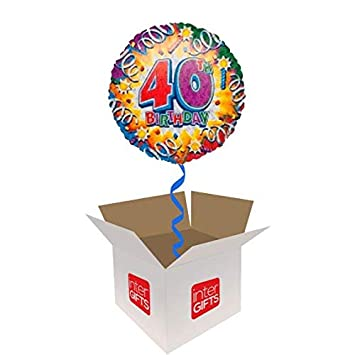 InterBalloon Helium Inflated 40th Birthday Blast Balloon Delivered In A Box Amazoncouk Toys Games