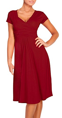 La Mujer Vino Verano Manga Vintage Vestidos De Pliegues De Corta Con En Casual DELEY Cuello Cintura Rojo Fiesta V qPnCdq5