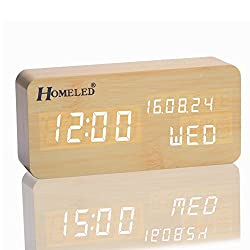 Homeled Wooden Cube Digital Desk Alarm Clock for Kids LED Travel Clock with Time / Week / Date / Temperature Displaying Sound Control Powered by 4 AAA Batteries or USB Cable (Wood)