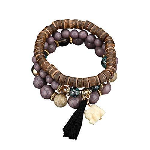 JDgoods_Women 's Bracelets,3 Wrap Bohemian Stretch Beaded Bracelets for Women Girls Crystal Beaded Strand Bangle Charm Multilayer Stackable Bracelets (B) ()