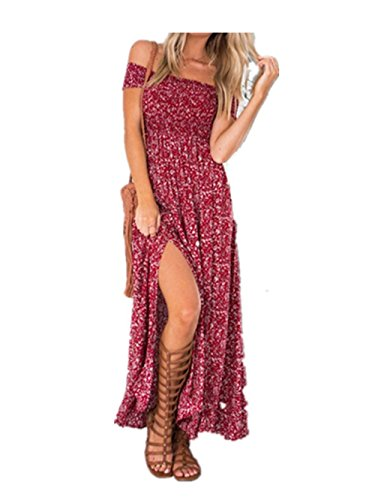 koobea Women Dresses Evening for Long Summer and Split Floral Dresses from Red Medium