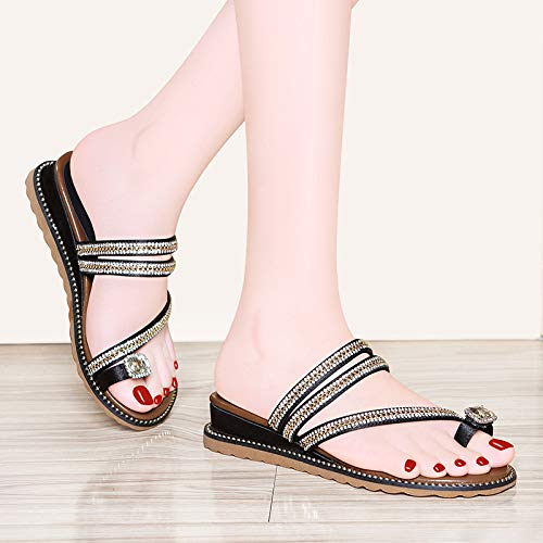 shoes Ladies slippers wear cool shoes Work heels beach Slope Women's women's fashionable Black slippers AJUNR q540wOxW