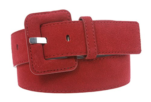 1 1/2 Inch Stitching-Edged Suede Leather Belt Size: S/M - 32 Color: Red