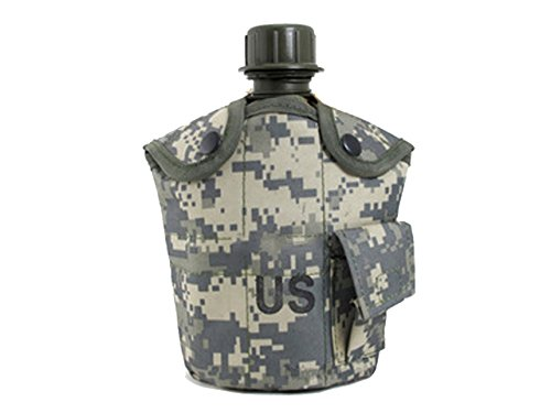 1L US Army Hiking Camping Aluminum Canteen Water Bottle Nylon Cover ACU by Unknown