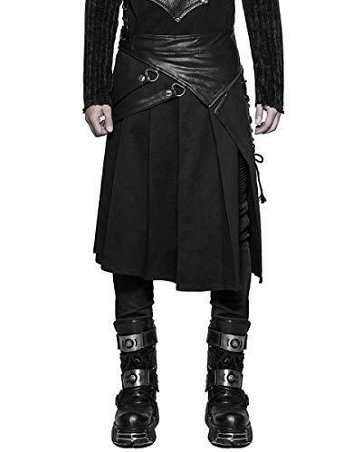 Punk Rave Hombre Dieselpunk Utilidad Kilt Negro Gótico Steampunk Piel  Sintética Larp  Amazon.es  Ropa y accesorios 0cb18726bae3