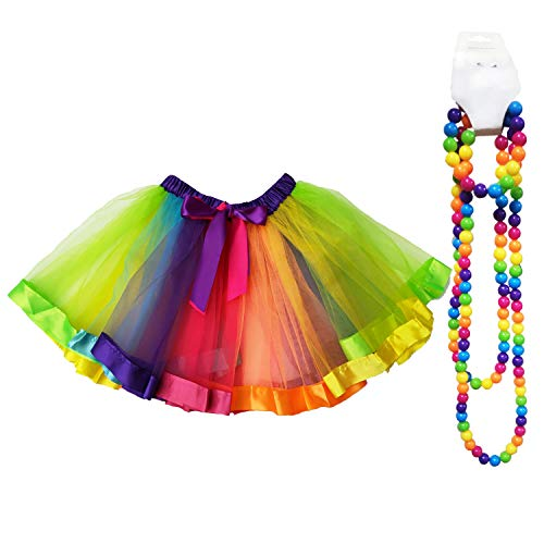 Danballto 80s Party RainbowTutu Skirt for Girls 10 12T Teen Size Accessories