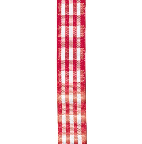 Offray Taffeta Gingham Check Craft Ribbon, 5/8-Inch Wide by 10-Yard Spool, Red