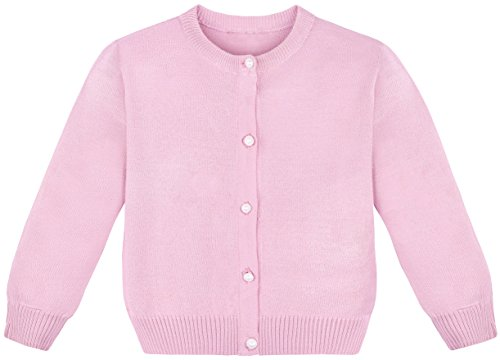 Lilax Little Girls' Knit Uniform Cardigan Long Sleeve Sweater 2T Pink