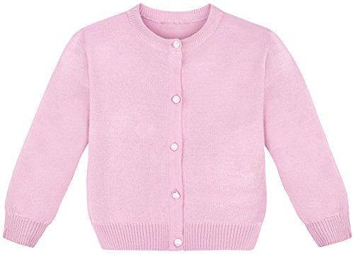 Lilax Little Girls' Knit Uniform Cardigan Long Sleeve Sweater 2T Pink (Sweater Pink Cardigan Girls)