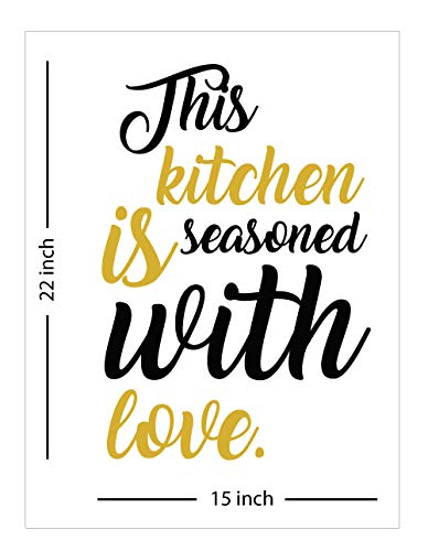 "This Kitchen is Seasoned with Love - Wall Decal, Inspirational Wall Art, Home Decor - Black&Gold 15"" W X 22"" H"