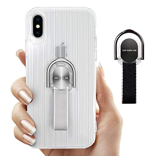 LAVAVIK iPhone Xs Max Case with Ring Kickstand & Finger Strap, Crystal Clear Soft TPU Cover with Gray & Black Loop Grips for Apple iPhone Xs Max, Work with Magnetic Mount & Wireless Charger