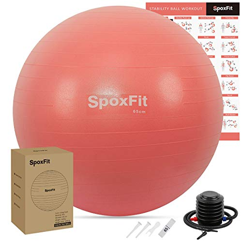 SpoxFit Exercise Ball, 65cm Anti-Burst Yoga Ball, Stability Fitness Ball for Birthing & Core Strength Training, Includes…