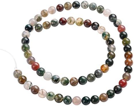 Pandahall Precio del 1 Pieza Hebras de perlas de piedras preciosas ágata redondas naturales indios sobre 65 unidades / cadena, 14.9