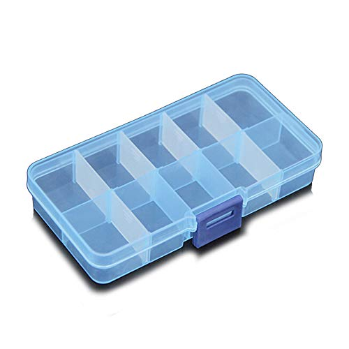 Lin-Tong Clear Plastic Storage Box, 10 Compartments Small Small Accessories Container for Earring Jewelry - Blue by Lin-Tong