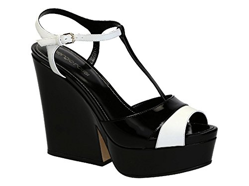 (Sergio Rossi Women's Black Patent Leather Sandals with Platform Shoes - Size: 10 US)