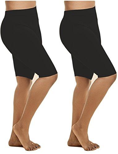 Women's 2 Pk Plus Size Seamless Stretch Yoga Exercise Shorts Bike Shorts (1X-2X) (Black 19