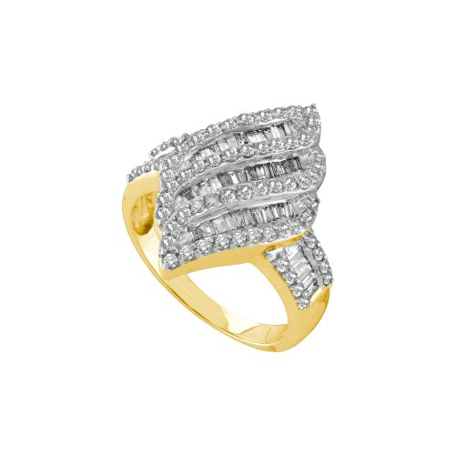 Size 12.5 - 14K Yellow Gold Large Diamond Cross Over Wedding , Anniversary OR Fashion Right Hand Ring Band - w/ Channel Invisible Set Round & Baguette Diamonds - (1.00 cttw)