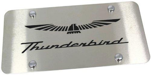 Au-Tomotive Gold, INC. Ford Thunderbird ETCHED Logo Laser Etch Front License Plate Frame BRUSHED Steel ()