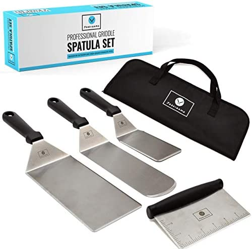 JORDIGAMO Deluxe Griddle Spatula Set – Professional Stainless Steel Cooking Kit – 3 Spatulas Scraper Carrying Bag – Camping Tailgating Outdoor BBQ – Grilling Hibachi Accessories – Metal Tool Set