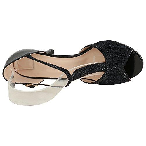 Stiefelparadies Damen Riemchensandaletten High Heels Sandaletten Stiletto Party Schuhe Glitzer Elegante Abendschuhe Abiball Flandell Schwarz Spitze