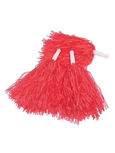 (Pangda 12 Pack Cheerleading Pom Poms Sports Dance Cheer Plastic Pom Pom for Sports Team Spirit Cheering (Red))