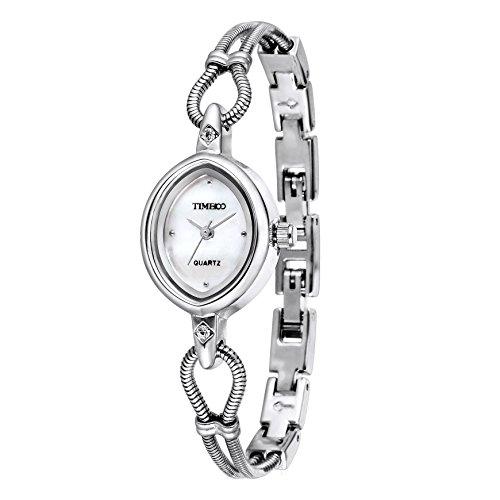 Diamond Leaf Shape (Time100 Women's Fashion Unique Luxury Diamond Round Dial Leaf Shape Bracelet Ladies Quartz Wrist Watches (silver 1))
