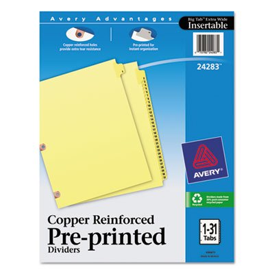 Avery Copper Reinforced Preprinted Tab - - Copper Reinforced Laminated Tab Dividers, 31-Tab, 1-31, Letter, Buff, 31/Set
