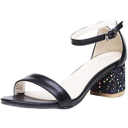RAZAMAZA Mujer Moda Correa de tobillo Tacon medio Sandalias Chicas Colegio Tacon Ancho Zapatos Negro