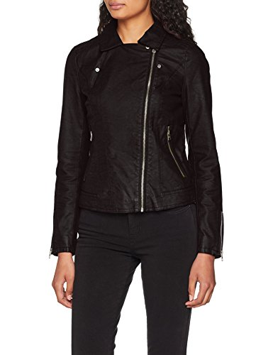 Donna Otw Only Black Onlsaga Black Nero Giacca Faux Biker Leather Cc 0X60rx